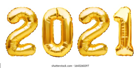 Golden Christmas 2021 balloons isolated on white background. Helium balloons, gold foil numbers. Numbers for Happy New Year 2021. Party decoration, anniversary sign for holidays, celebration, carnival