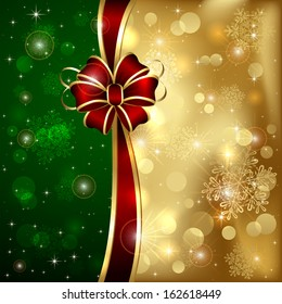 Golden Christmas background with red bow and shining stars, illustration.