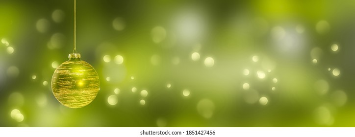 golden christmas ball at the edge of festive blurred green background, christmas lights on abstract beautiful xmas backdrop, empty x-mas background concept - Shutterstock ID 1851427456