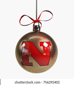 Golden Christmas Ball Font with red ribbon. 3d Rendering Isolated. Letter N.