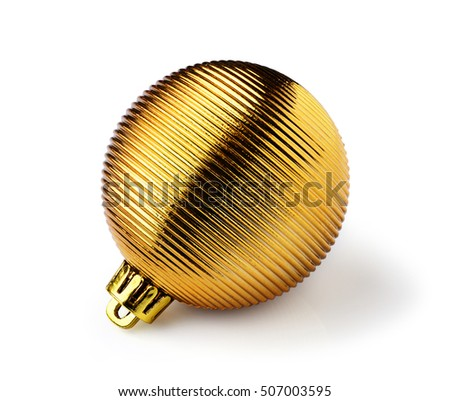 Golden Christmas ball isolated on white background. Christmas decoration.