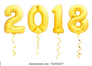 Golden Christmas balloons 2018 made of inflatable balloon with golden ribbon isolated on white background