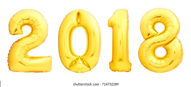 Golden Christmas balloons 2018 made of inflatable balloon isolated on white background