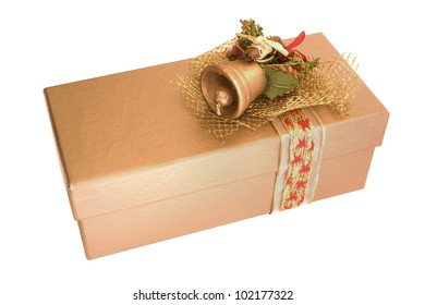 Golden Christmas box isolated on white background