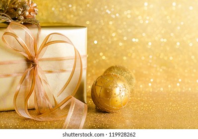 Golden Christmas decoration and bokeh background with copy space