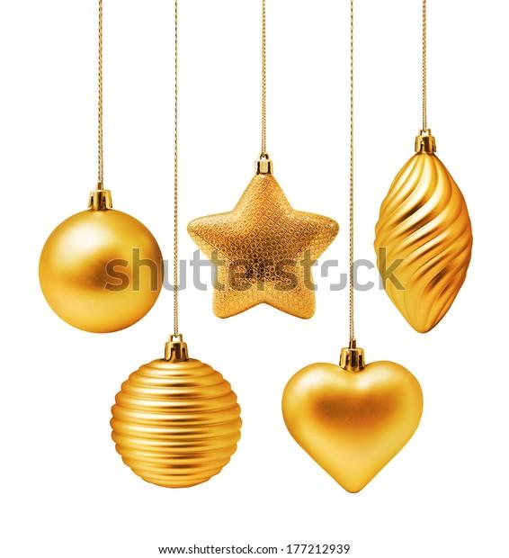 Golden Christmas decoration elements isolated on white background