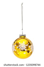 Golden Christmas hanging sphere  with decoration snowflake isolated on the white
