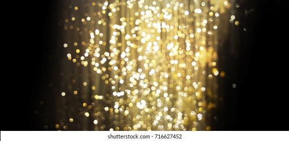 Golden (Christmas, New Year) Glitter Lights Defocused Background