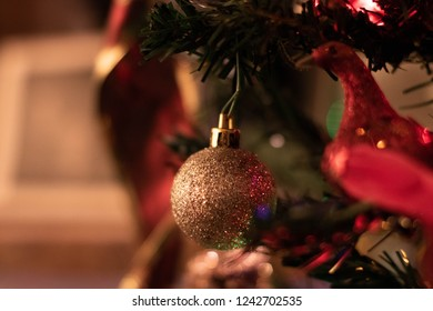 golden Christmas ornament bulb circular