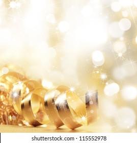 Golden christmas ribbon