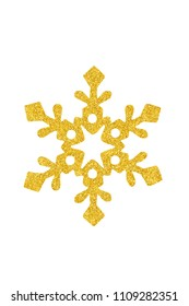Golden Christmas snowflake isolated on white background