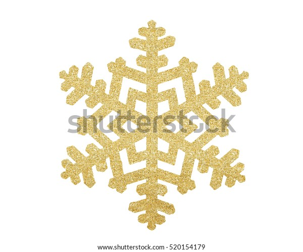 Golden Christmas snowflake isolated on white background