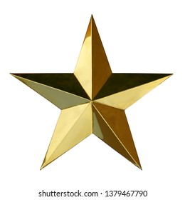 Golden Christmas Star isolated on white background. This has clipping path.