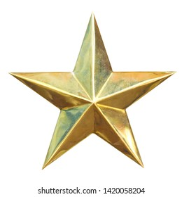 Golden Christmas Star isolated on white Background, clipping path.