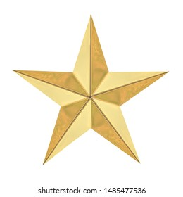 Golden Christmas Star isolated on white background with Clipping path