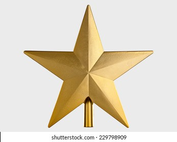 Golden Christmas Star isolated on Grey Background. Top View Close-Up