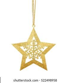 Golden Christmas star isolated on white background