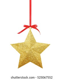 Golden Christmas star on red ribbon isolated on white background.