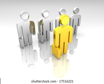 golden and chrome business pictograms meeting