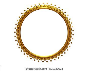 golden, circle Frame on white, 3d Illustration