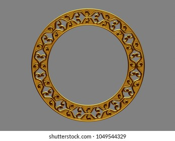 """golden, circle and ornamental frame in gold, """"opening"""", 3d illustration"""