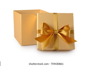 Golden classic open gift box with satin bow isolated on white background
