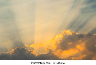 Golden cloud with ray light at twilight time