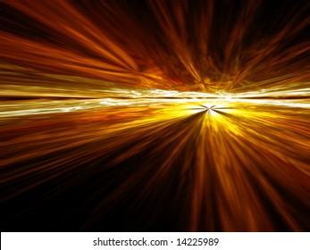 Golden Cloud Vista - fractal illustration