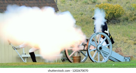 Golden, CO, USA, Sep 29, 2018, Living History Day Reenactment of life in 1777. This is a community event hosted by Red Rocks Baptist Church. Battle reenactment with people firing muskets and cannons.