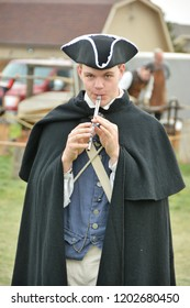 Golden, CO, USA, Sep 29, 2018, Living History Day Reenactment of life in 1777. This is a community event hosted by Red Rocks Baptist Church. Actors dressed up in period clothes acting out a day in 177