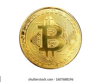 Golden coin with Bitcoin symbol isolated on white background