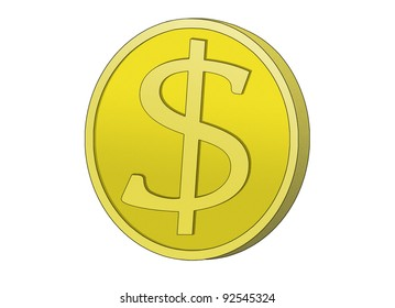 Golden Coin with dollar sign. Symbol for wealth and dollar currency.