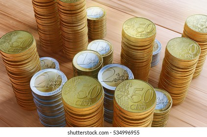 golden coin ,money and dollar on the wood desk,3D