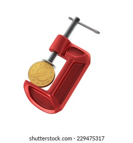 A golden coin of one euro tightened up in a G-clamp, financial crisis concept, isolated on white background.