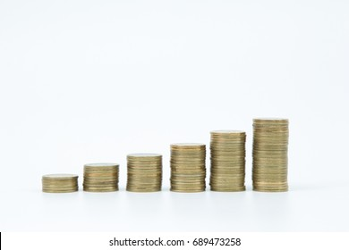 golden coin pile on white background
