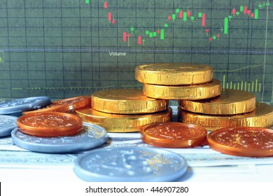 Golden coin, ship and dollar with candlestick of stock chart background. Asset allocation concept.