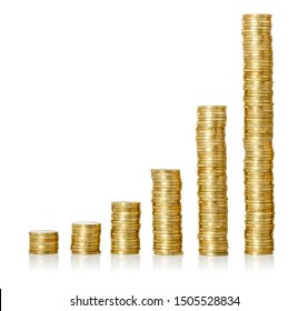 Golden coin stacks on a white background