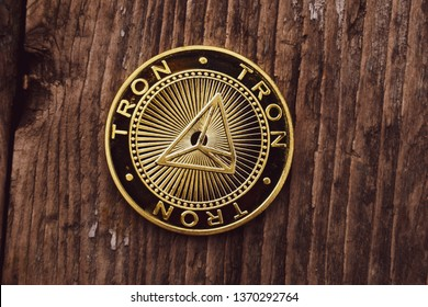 Golden coin Tron TRX, digital money, new cryptocurrency.
