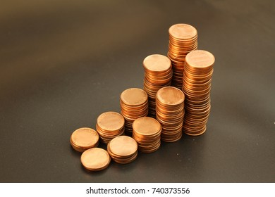 Golden coins 2 growth curve graph with black background, related to Finance, Business, Economic growth.