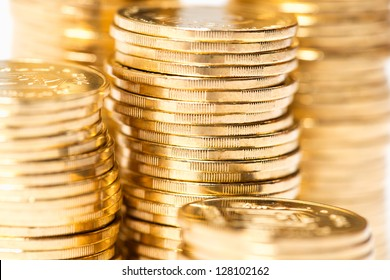The golden coins close up background
