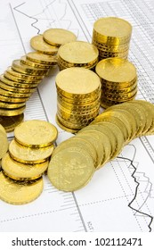 Golden coins concept on business background