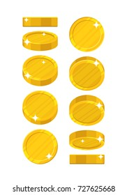 Golden coins in different positions. Balance profit, income statement and cash flow statement. Cartoon  illustration on white background