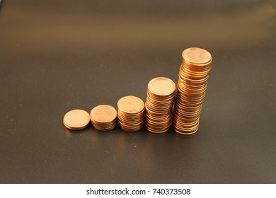 Golden coins growth curve graph with black background, related to Finance, Business, Economic growth.