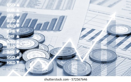Golden Coins over Business Financial Reports with Forex Index