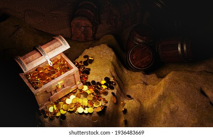 Golden Coins and vintage treasure chest made of wooden panels Reinforced with gold metal and gold pins Treasure boxes placed on the sand in a cave. The treasure is hidden by pirates. 3d Rendering