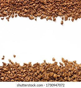 golden color freeze dried coffee, instant coffee granules on a white background close-up, Sublimated coffee texture, free space, place for text in the center