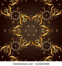 Golden color seamless illustration. Golden seamless pattern on brown and black colors with golden floral elements. For your design, wallpaper. Geometric background.