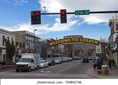 """Golden, Colorado, Usa - October 22, 2017:Golden Colorado Main Street with an inscription """"Welcome to Golden"""".Historical district, features a bustling entertainment scene with restaurants and shops."""