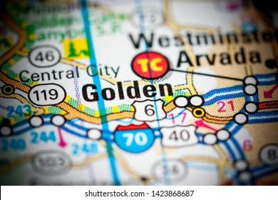 Golden. Colorado. USA on a map