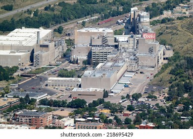 GOLDEN, COLORADO/U.S.A.  -  FEBRUARY 8, 2014: Ariel view of Miller Coors brewery in Golden, Colorado. Coors is the largest-single brewery facility in the world.